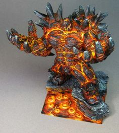 James Wappel Miniature Painting: Rothand Studios Lava Golem on the grey backdrop