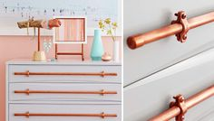 upcycling, organizing and natural material objects Copper Pipe Drawer Pulls How to build a Green-hou Home Projects, Redo Furniture, Diy Furniture, Home, Copper Diy, Drawer Pulls, Home Diy, Copper Style, Diy Drawers