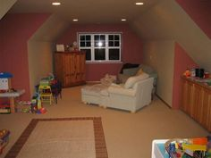 Bonus room loft over garage stairs up the middle to for Bonus room over garage cost