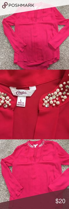 Hot pink Blouse This Candies brand top is awesome! It has a pearl and rhinestone beaded neckline and is super flattering! Candie's Tops Blouses