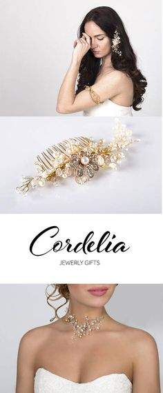 Wedding accessories. Bridal ivory headpiece and pearl necklace ckoker.  The charming hair comb for evening, prom or bridal hairstyle is decorated with freshwater pink and white pearls, rhinestone, rose quartz