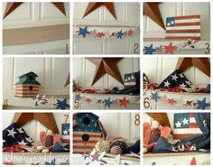 Have a patriotic and fun of July with these festive Independence Day mantel decorating ideas. Mantle Decorating, Decorating Ideas, Craft Ideas, Holiday Parties, Holiday Decor, Mantel Ideas, Let Freedom Ring, Patriotic Decorations, July Crafts