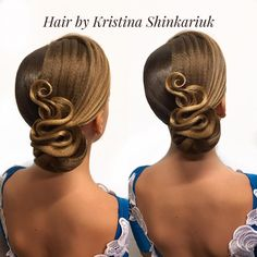 Dancesport Hair Fashion by Kristina Shinkariuk Perfectly styled hair is an important part of the overall look for ballroom dance competitors. Latin Hairstyles, Braided Hairstyles For Wedding, Bun Hairstyles, Updo Hairstyle, Dance Competition Hair, High Bun Hair, Hair Buns, Ballroom Dance Hair, Bleached Hair Repair