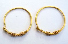 24k pure gold earrings solid hoop vintage antique old tribal bellydance jewelry