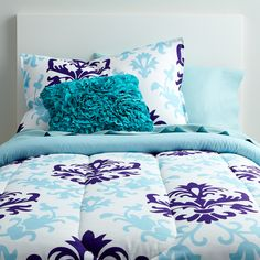 Sensational ideas teal purple comforter set and sets medium size of nursery in a bag queen also Blue Rooms, Medallion Bedding, Blue Dorm, Dorm Room Bedding, Comforter Sets, Sham Bedding, Blue Bedroom, Purple Comforter, Room