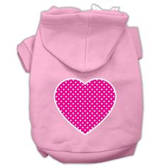 Pink Swiss Dot Heart Screen Print Pet Hoodies Light Pink Size Sm (10)