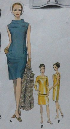 Vintage Paris Original LAROCHE Dress & Back Closing Jacket Sewing Pattern sheath dress blue yellow gold top over shirt space age structured jackie o looks color illustration print ad sleeveless Vintage Fashion 1950s, Look Vintage, 1960s Fashion, Vintage Vogue, Vintage Dress Patterns, Vintage Dresses, Vintage Outfits, 1960s Dresses, Patron Vintage