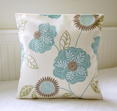 one duck egg blue, sage green, taupe flowers and  leaves pillow cover , floral 16 inch cushion cover