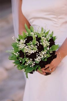 Elegant Wedding Bouquet Featuring: Chocolate Cosmos, White Lily Of The Valley + Greenery/Foliage Cosmos Wedding Flowers, Floral Wedding, Elegant Wedding, Bridesmaid Bouquet, Wedding Bouquets, Bridesmaids, Chocolate Cosmos, White Lilies, Lily Of The Valley