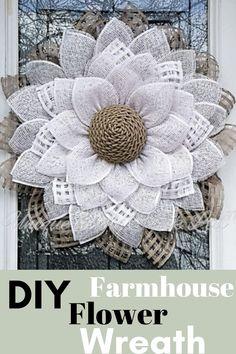 Burlap Flower Wreaths, Sunflower Wreaths, Deco Mesh Wreaths, Ribbon Wreaths, Yarn Wreaths, Floral Wreaths, Burlap Crafts, Wreath Crafts, Diy Wreath