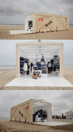 H & M Beach Pop-up Store. Hague's coastal suburb of Scheveningen played host to a two-day H pop-up store full of summer products. These pop up stores are used to test products without a huge financial investment. Pop Up Stores, Pop Up Shop, Street Marketing, Tienda Pop-up, Beach House Style, Retail Concepts, Container Design, Container Shop, Retail Interior