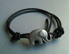 Elephant Wrap Bracelet  Black  Charm by SticksAndStonesGifts, $5.95