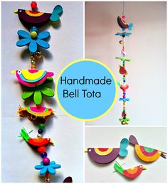 The bell totas are typical house decorations normally made out of colorful cloth and beads and they are hanging near the houses' door.