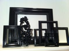 Home Decor Black Vintage Frames and Sconce Painted by FeFiFoFun, $54.00