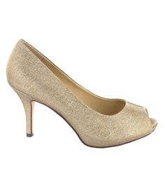 Zapato Peep Toe en Dorado Claro. Esencial para cualquier ceremonia, fiesta u ocasión especial. Ref.5990 //Golden Peep Toe shoe. Essential for any ceremony, party or special occasion. Ref.5990