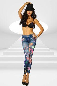 Atixo Jeans-Print Leggings