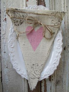 painted burlap banner with glittered letters and hearts Burlap Bunting, Bunting Garland, Burlap Lace, Bunting Banner, Vintage Bunting, Heart Banner, Banner Ideas, Burlap Projects, Burlap Crafts