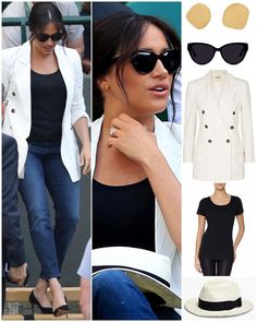 Meghan's look for Wimbledon today ? Striped Blazer Outfit, Blazer Outfits, Harry And Meghan News, Meghan Markle, Duke And Duchess, Hat, Prince Harry, Style