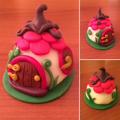 Pasta di mais. Handmade/painted Cute Fairy House