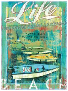 Life Has Many Paths Artwork: Beach House Decor, Coastal Living Boutique, Nautical, Seaside & Tropical Decor