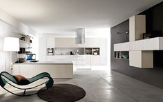 #Kora in laminato olmo bianco e laccato satinato grigio perla. Kora in white elm laminate and pearl grey satin lacquer. #Cesar #Cucine #Kitchens