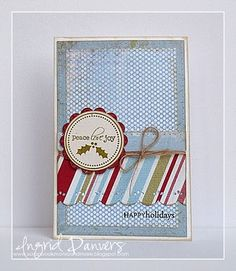Supplies: Cardstock: Bazzill Basics Paper (white), Papertrey Ink (rustic cream) Patterned paper: My Mind's Eye The Merry Days of Christmas Clear stamps: Papertrey Ink (2009 Holiday Tag Collection) Ink: Papertrey Ink (Ripe Avocado, Vintage Tea Dye Duo), Versafine Onyx Black Tools: Martha Stewart Embossed Scallop edge punch, EK Success Circle punch, EK Success Scalloped Circle punch, sewing machine Twine: Jillibean Soup Other: foamtape