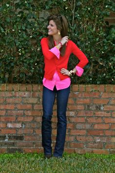 Red-red-sweater-j-crew-sweater-hot-pink-button-up-j-crew-shirt