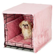 Plush Dog Crate Cover and Bed - Pink