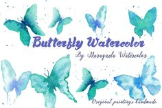 Watercolor Butterflies Clip Art Blue - Illustrations. Watercolor Clip Art - Butterflies, Butterfly, Blues hues, Insect, Nature, Fly, Soft, Beautiful, Spring, Pretty  Hand painted watercolor butterflies. Bright and vibrant colours, tourquoise blue hues.  This elegant collection of high quality hand painted Watercolour Butterflies.