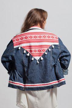 denim jacket FOLK jeans vintage customized etno boho by Deklekt