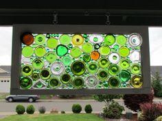 Recycled glass art art pinterest recycled glass for How to break bottom of glass bottle