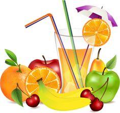 frutos y zumo, imagen vectorial.