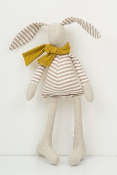 Little Easter bunny , dressed for spring in beige striped shirt and mustard scarf - handmade fabric doll