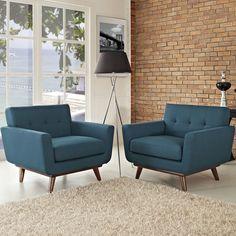 Modway Furniture Modern Engage Armchair Wood Set of 2 Mid Century Modern Living Room, Mid Century Modern Design, Mid Century Modern Furniture, Living Room Modern, Living Room Decor, Midcentury Modern, Small Living, Living Rooms, Modern Chairs