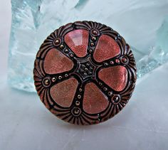 Czech Glass Button 27mm Coral Orange Wheel Handmade by VodaBeads, $6.35