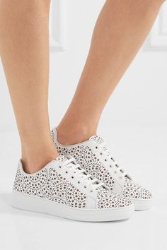 Alaïa - Laser-cut Leather Sneakers - White - IT35