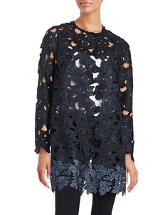 Elie Tahari Lauren Floral Lace Coat Women's Black X-Small