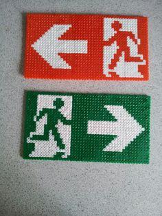 Sign exit hama perler beads by Camilla Larsen