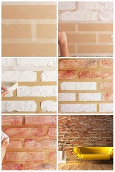 New Ideas Painting Walls Accent Faux Brick Diy Wand, Faux Brick Walls, Ideias Diy, Art Mural, Diy Interior, Diy Wall Art, Diy Painting, Painting Walls, Wall Design