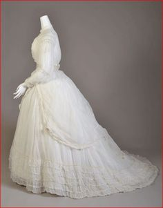 1868 Wedding Dress Fits Perfectly Over Underpinnings, Kent State University Museum.