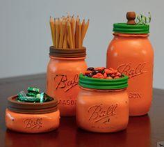 Orange pumpkin theme mason jar