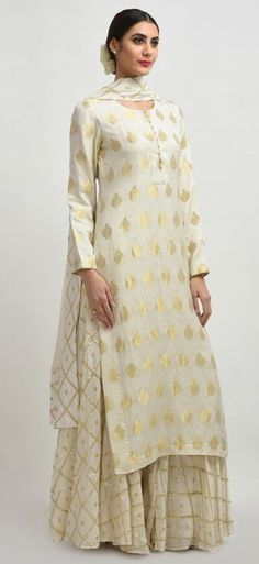 Ivory Banarasi Handwoven Zari And Sequin Embroidered Sharara Suit Pakistani Dresses, Indian Dresses, Indian Outfits, India Fashion, Ethnic Fashion, Indian Attire, Indian Wear, Sharara Designs, Indian Designer Suits