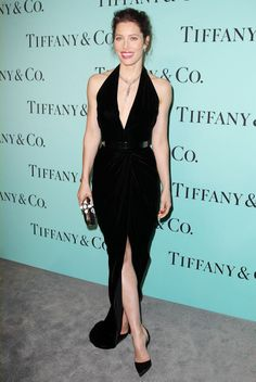 Killer. Jessica Biel wears an Oscar de la Renta gown and carries an Oscar de la Renta clutch to the Tiffany Blue Book celebration.