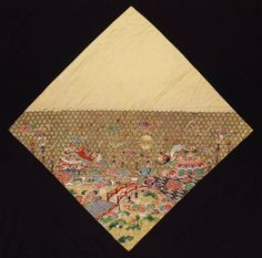 Buddhist altar cloth (uchishiki)  Japanese, Edo period, 18th or 19th century, (24 x 25 in.), Silk satin-weave ground, embroidered (shishû) with silk, couched (koma-nui) with gold-wrapped thread, Buddhist altar cloth (uchishiki), divided diagonally, with plain gold silk on one half and, on the other, a design of linked hexagon pattern (kikkô-mon), chrysanthemums, paulownia, clouds, Chinese deities and a bridge over a river with lotus. MFA