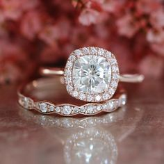 Cushion Moissanite Engagement Ring and Scalloped by LaMoreDesign