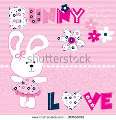 cute bunny with flowers vector illustration - stock vector