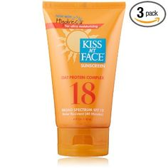 Amazon.com: Kiss My Face Sun Screen with Oat Protein Complex, SPF 18, 4-Ounce Tubes (Pack of 3): Beauty