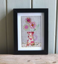 Daisies in jug - framed freestyle machine embroidery £13.00