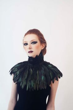 Black Feather Capelet mini by xiaolindesign on Etsy