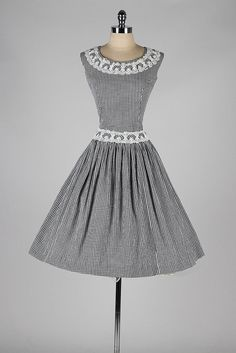 Vintage 1950s Cotton dress . black white gingham